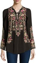 Johnny Was Fabio Embroidered Blouse, Dark Cocoa