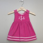 The Well Appointed House Girl's Bon Bon Hot Pink Corduroy Dress with Baby Pink Trim-Can Be Personalized