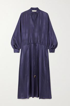 Tory Burch Belted Silk-blend Satin-jacquard Midi Dress - Navy