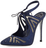 Rene Caovilla Crystal-Embellished Tie-Front 115mm Pump, Navy