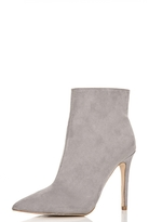 Quiz Grey Faux Suede Pointed Ankle Boots