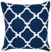 Jill Rosenwald Copley Collection Hampton Link Embroidered Pillow, 18 x 18 - Navy - 18 in. x 18 in.