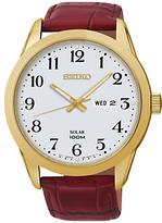 Seiko Sne372p1 Solar Powered Leather Strap Watch, Brown/white