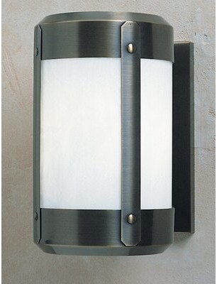 "Red Barrel Studioâ® Arinze Outdoor 1 Light Wall Sconce Red Barrel StudioA Size: 10.38"" H x 6.25"" W x 8.38"" D, Color: Slate, Shade Color: Rain Mist"