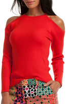 Trina Turk Merino Wool Ribbed Knit Cold Shoulder Sweater