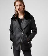 AllSaints Women's Maizie 2-in-1 Leather Biker Jacket, Black, Size: XS
