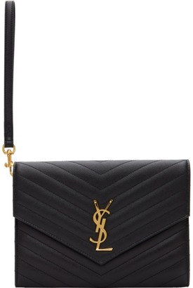 Saint Laurent Black Wristlet Envelope Clutch