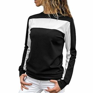 KaloryWee Sale Autumn Pullover Shirts Women Casual Long Sleeve Crewneck Sweatshirt Color Block Pullover Top Black