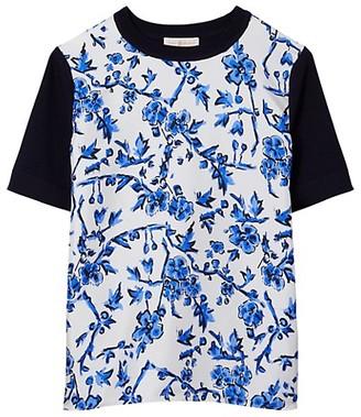 Tory Burch Floral Print Silk T-Shirt
