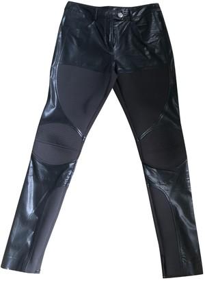 Francesco Scognamiglio Black Leather Trousers for Women