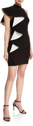 Halston Mock-Neck Contrast Flounce Crepe Dress