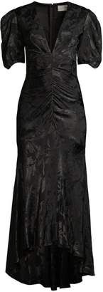 Sachin + Babi Ali Illusion Floral Short Puff-Sleeve Mermaid Gown