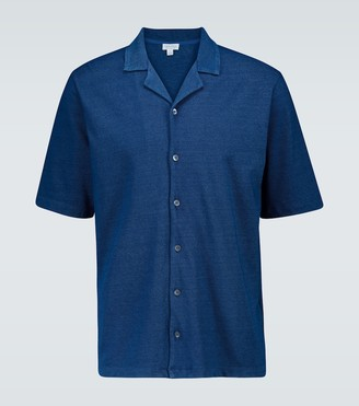 Sunspel Pique cotton camp-collar shirt