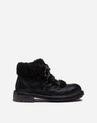Dolce & Gabbana Cowhide And Merino Wool Hiking Boots