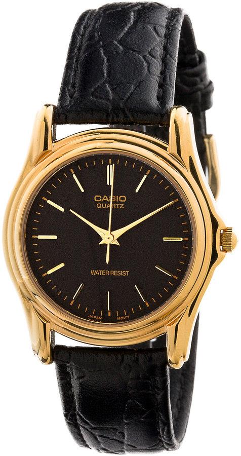 Casio MTP-1096Q-1A Black Leather Analog Watch