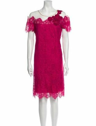 Alberta Ferretti Lace Pattern Knee-Length Dress w/ Tags Pink