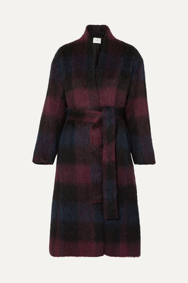 Vince Belted Checked Brushed Wool-blend Coat - Plum