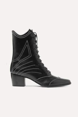Tabitha Simmons Swing Lace-up Leather Ankle Boots - Black