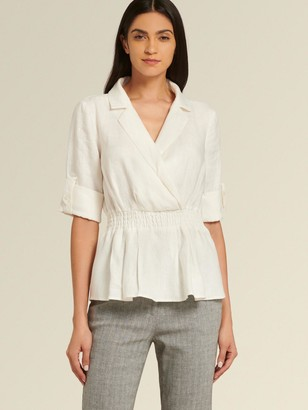DKNY Donna Karan Women's Peplum Top With Roll-tab Sleeve - Cream - Size XS