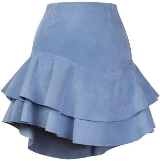 N. S I O B H A M O L L O Y Lashes Baby Blue Calf Suede Skirt