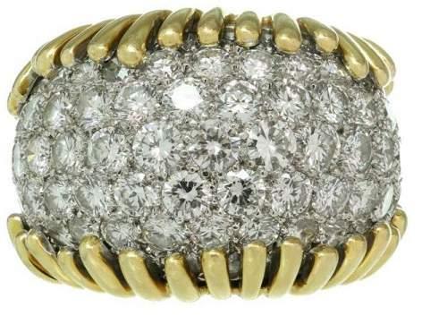 David Webb 18k Yellow Gold Diamond Platinum Ring