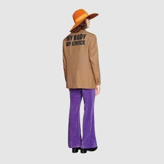 "Gucci Palma jacket with ""My Body My Choice"""