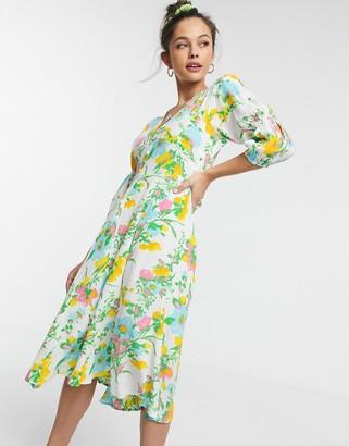 Faithfull The Brand Faithfull maud floral midi dress with 3/4 sleeve in ilona floral print