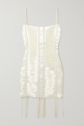 Givenchy - Grosgrain-trimmed Cutout Satin Mini Dress - White
