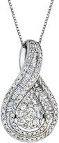 FINE JEWELRY 1 CT. T.W. Diamond 10K White Gold Pear-Shaped Pendant Necklace