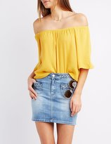 Charlotte Russe Gauze Off-The-Shoulder Top