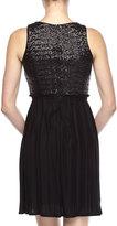 Laundry by Shelli Segal Sequin-Plisse Dress, Black