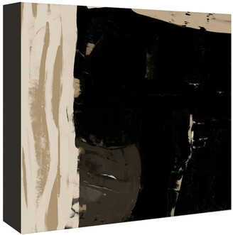 American Flat Americanflat Black And Taupe Abstract 2 By Kasi Minami Canvas Artwork