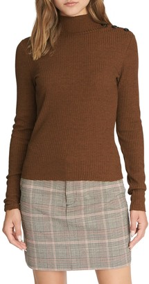Sanctuary Buttoned Mock Neck Long Sleeve Shirt (Regular & Petite)
