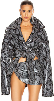 LaQuan Smith Teddy Jacket in Charcoal Snake | FWRD