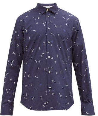 Paul Smith Scissor-print Cotton-poplin Shirt - Mens - Navy