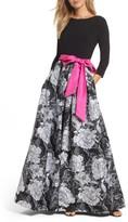 Eliza J Women's Belted Floral Skirt Ballgown