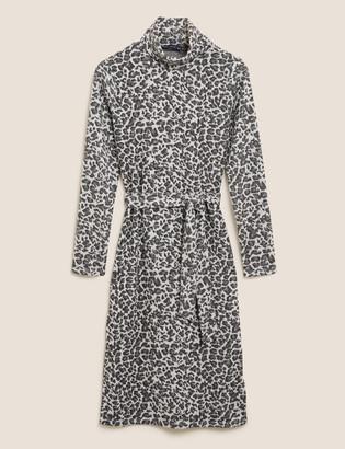 Marks and Spencer Animal Print High Neck Belted Shift Dress
