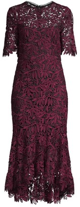 Shoshanna Vitti Floral Lace Flounce Midi Sheath Dress