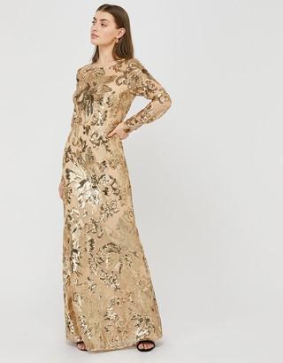Monsoon Rose Sequin Maxi Dress Gold