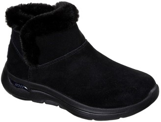 Skechers GOwalk Arch Fit Faux Fur Ankle Boot - Black