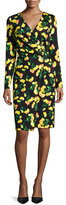 Escada Long-Sleeve Faux-Wrap Dress, Carnation