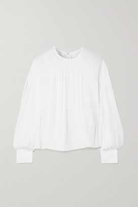 Vince Gathered Silk-crepe Blouse - White
