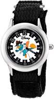 Disney Kids' W000375 Agent P Stainless Steel Time Teacher Black Velcro Strap Watch