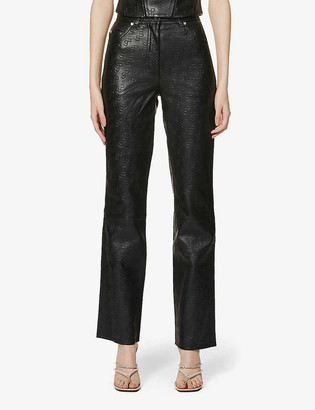 Saks Potts Rosita logo-embossed straight-leg high-rise leather trousers
