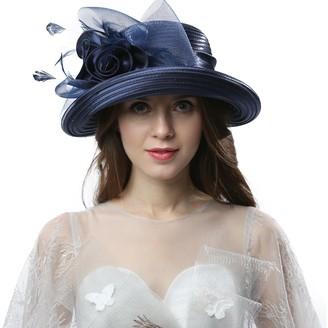 Janey&Rubbins Women Kentucky Derby Church Wedding Fascinators Cloche Bucket Bowler Hat - blue - M