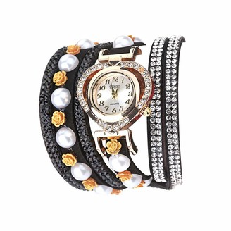 LABIUO CCQ Women Vintage Shining Crystal Flowers Bracelet Dial Analog Quartz Wrist Watc
