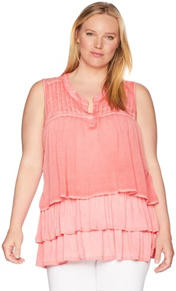 One World ONEWORLD Women's Plus Size Sleeveless Oil Wash Knit Top with Layer Front
