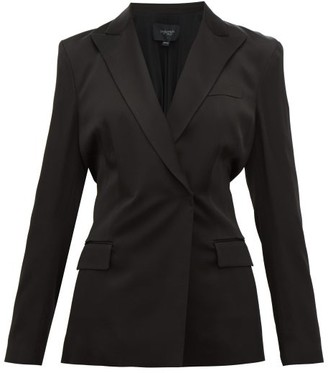 Giambattista Valli Double-breasted Shirred-back Satin Blazer - Black
