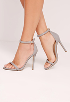 Missguided Rounded Strap Patent Barely There Sandals Grey