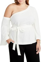 Rachel Roy Plus Size Women's One-Shoulder Bell Sleeve Top